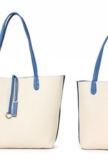 Reversible Tote Blue/Beige Small