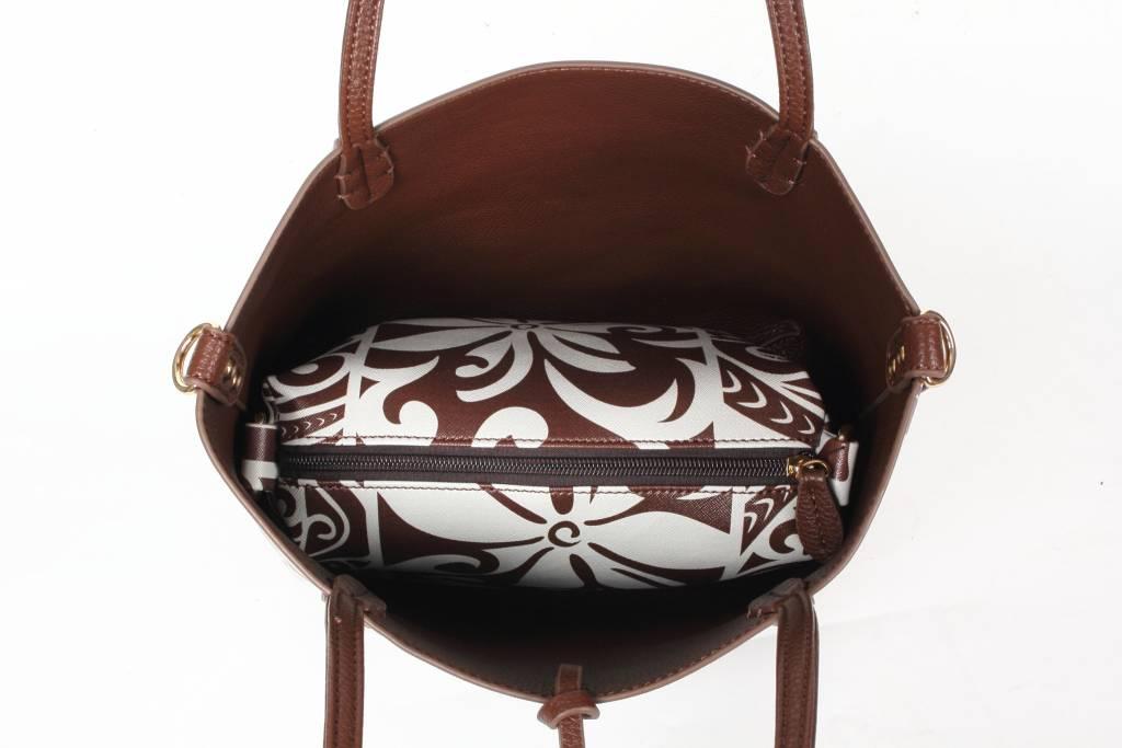 Reversible Tote Brown/Tapa Tiare Small