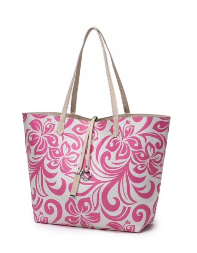 Reversible Tote Nancy Hibiscus Pink Large