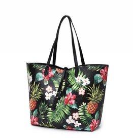 Happy Wahine Reversible Tote Nancy Vintage Pineapple Black Large