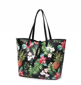 Reversible Tote Nancy Vintage Pineapple Black Large