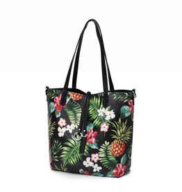 Reversible Tote Nancy Vintage Pineapple Black Small