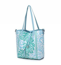 Reversible Tote Nancy Monstera Blue Small