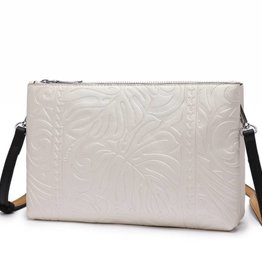 Happy Wahine Crossbody Marisa Monstera Embossed Silver