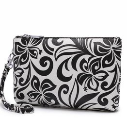 Happy Wahine Wristlet Melody Hibiscus Black