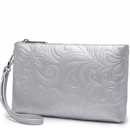 Happy Wahine Wristlet Melody Hibiscus Embossed Silver