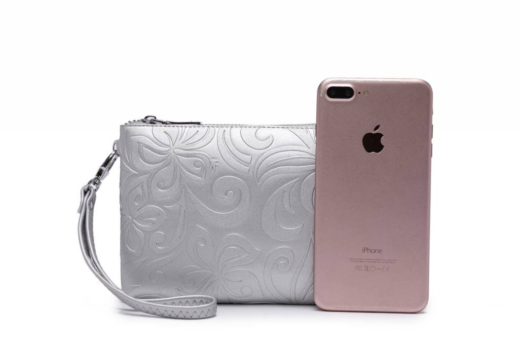 Wristlet Melody Hibiscus Embossed Silver