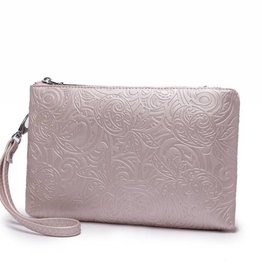 Happy Wahine Wristlet Melody Tapa Pineapple Embossed Pink