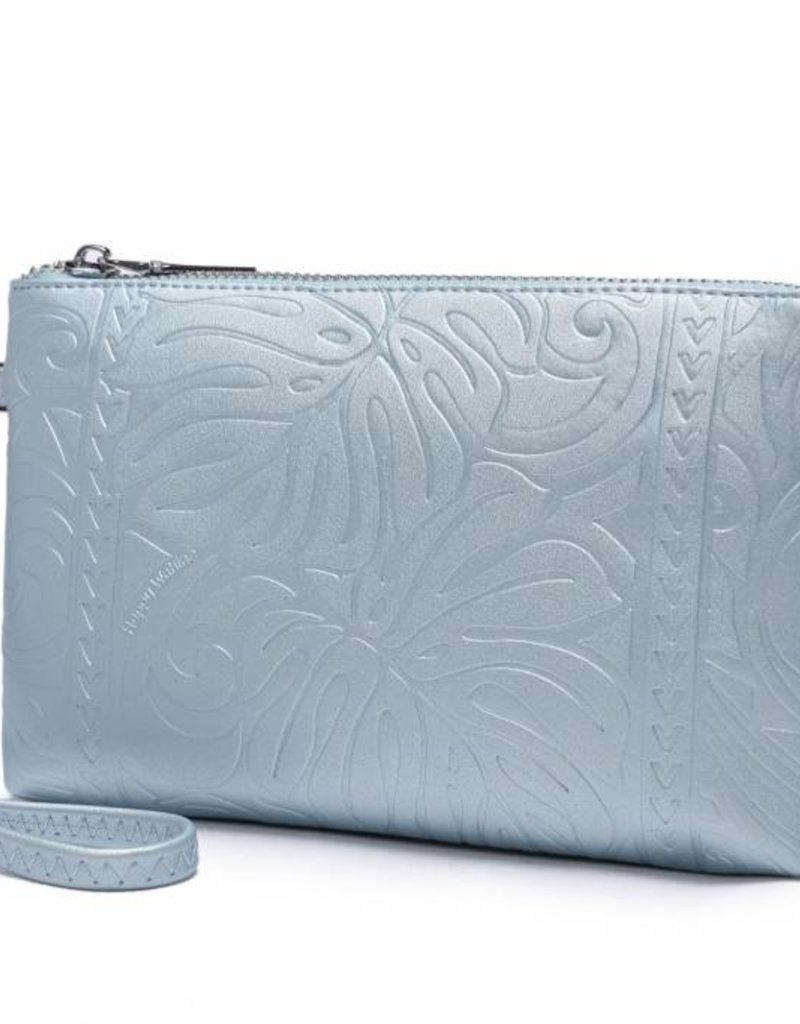 Wristlet Melody Monstera Embossed Blue