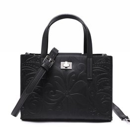 Happy Wahine Crossbody Annie Tapa Tiare Embossed Black