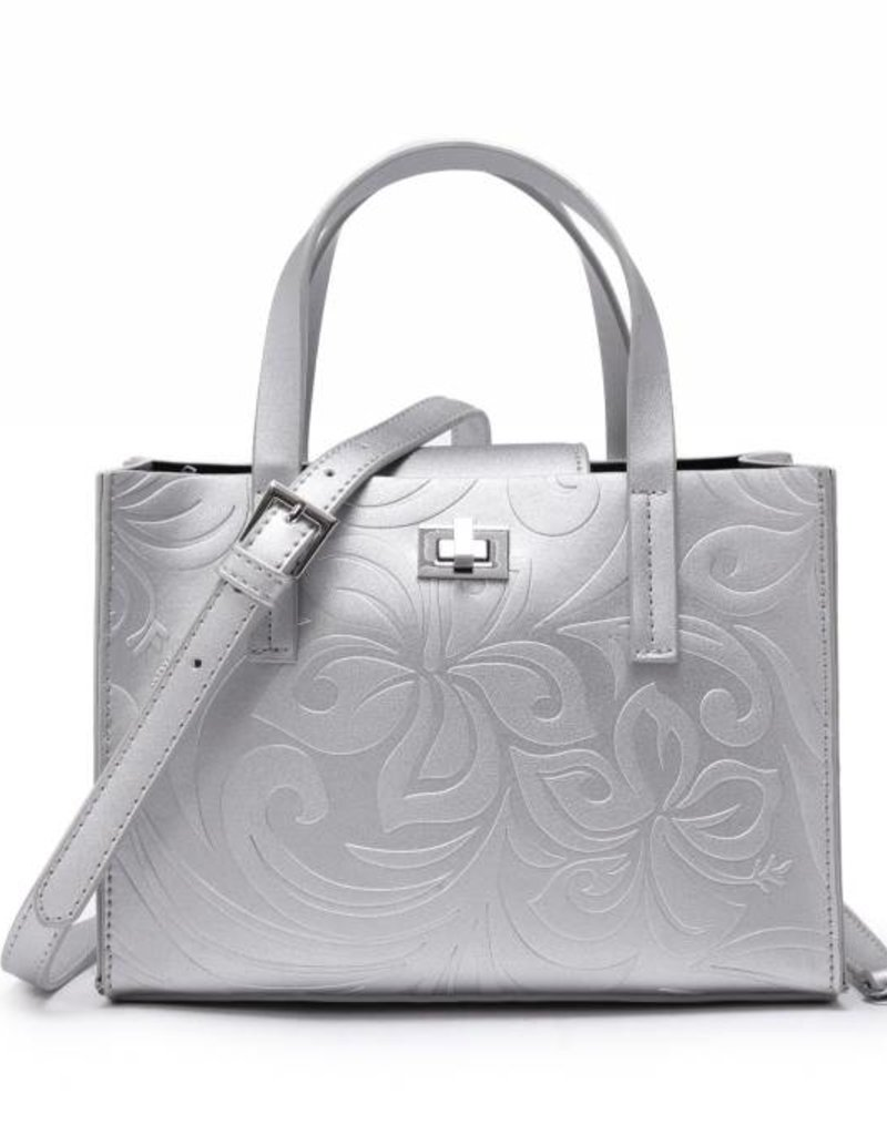 Happy Wahine Crossbody Annie Hibiscus Embossed Silver