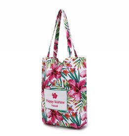 Happy Wahine Everyday HI Tote Watercolor Hibiscus