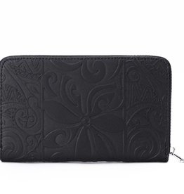 Happy Wahine Wallet Chloe Tapa Tiare Embossed Black