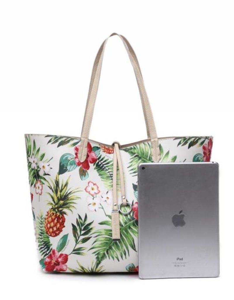 Reversible Tote Nancy Vintage Pineapple Beige Large