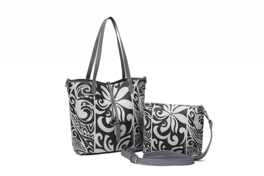 Reversible Tote Nancy Tapa Tiare Grey Small