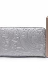 Wallet Kaylee Hibiscus Embossed Silver