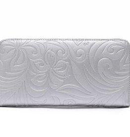 Happy Wahine Wallet Kaylee Hibiscus Embossed Silver
