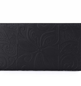 Happy Wahine Wallet Teyla Tapa Tiare Embossed Black
