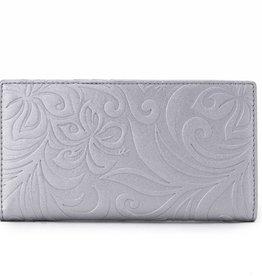 Happy Wahine Wallet Teyla Hibiscus Embossed Silver