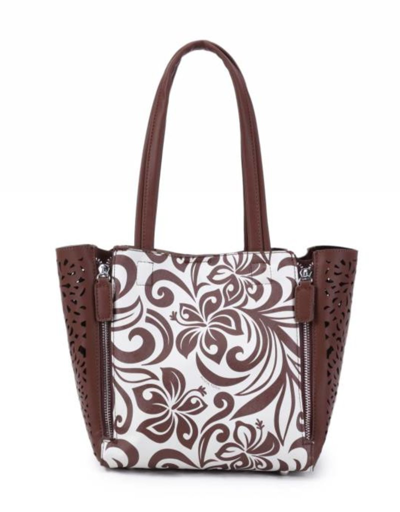 Handbag Amy Hibiscus Brown Small