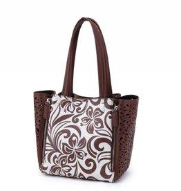 Happy Wahine Handbag Amy Hibiscus Brown Small