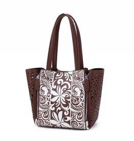 Happy Wahine Handbag Amy Tapa Tiare Brown Small