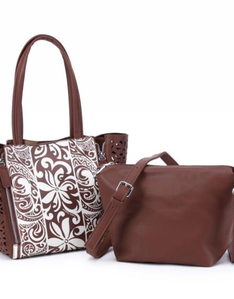 Handbag Amy Tapa Tiare Brown Small