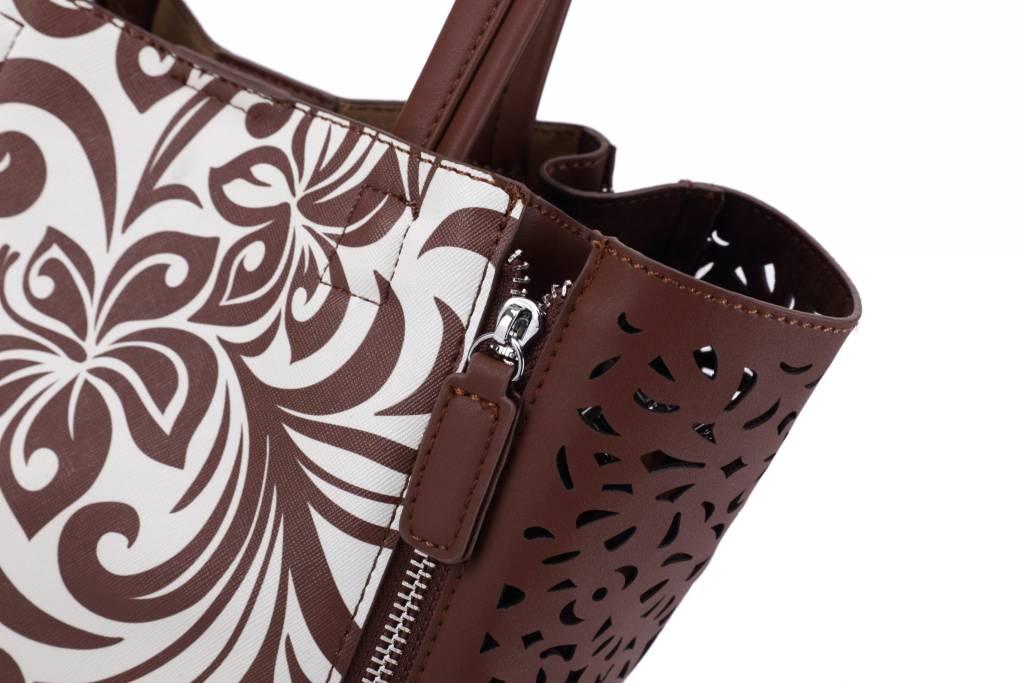 Handbag Amy Hibiscus Brown Small