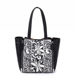 Happy Wahine Handbag Amy Tapa Tiare Black Large