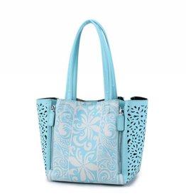 Happy Wahine Handbag Amy Tapa Tiare Blue Large