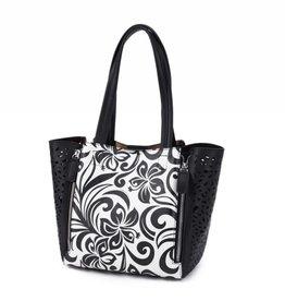 Happy Wahine Handbag Amy Hibiscus Black Large