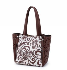 Handbag Amy Hibiscus Brown Large