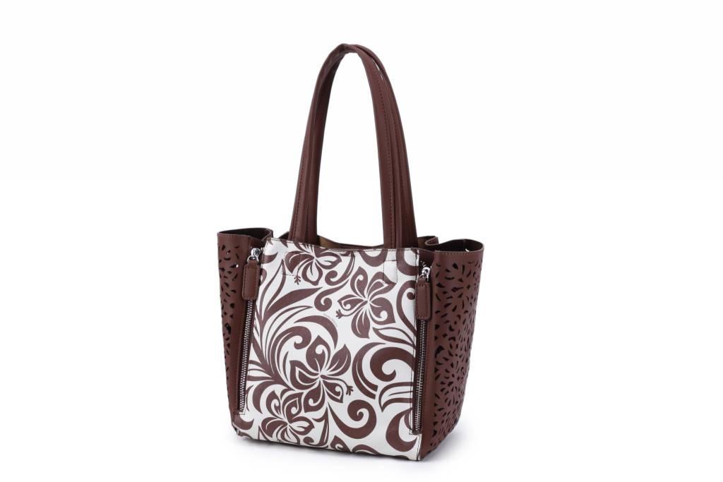 Handbag Amy Hibiscus Brown Large
