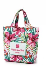 Happy Wahine Everyday HI Small Tote Watercolor Hibiscus