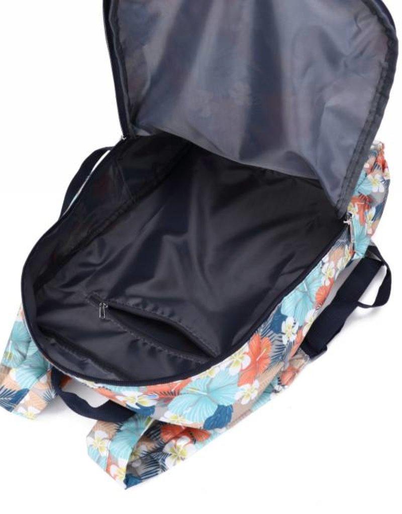 Nylon Song Backpack Hibiscus Plumeria Grey