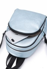 Backpack Lucy Hibiscus Embossed Blue