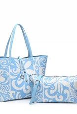 Rev Tote Nancy Tapa Tiare Light Blue Large