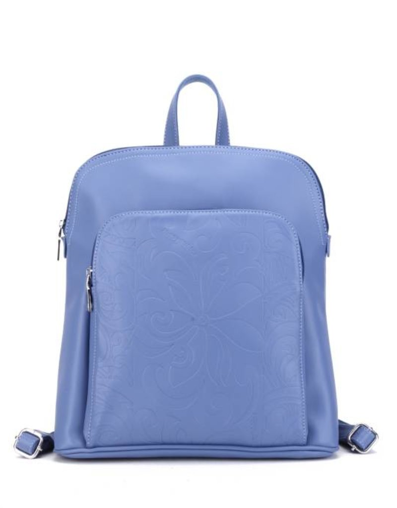 Backpack Sasha Tapa Tiare Blue Embossed Metallic
