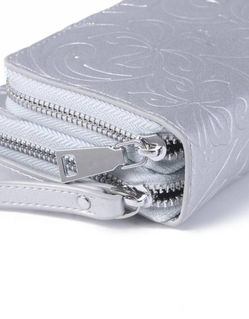 Wallet Allison Hibiscus Silver Embossed