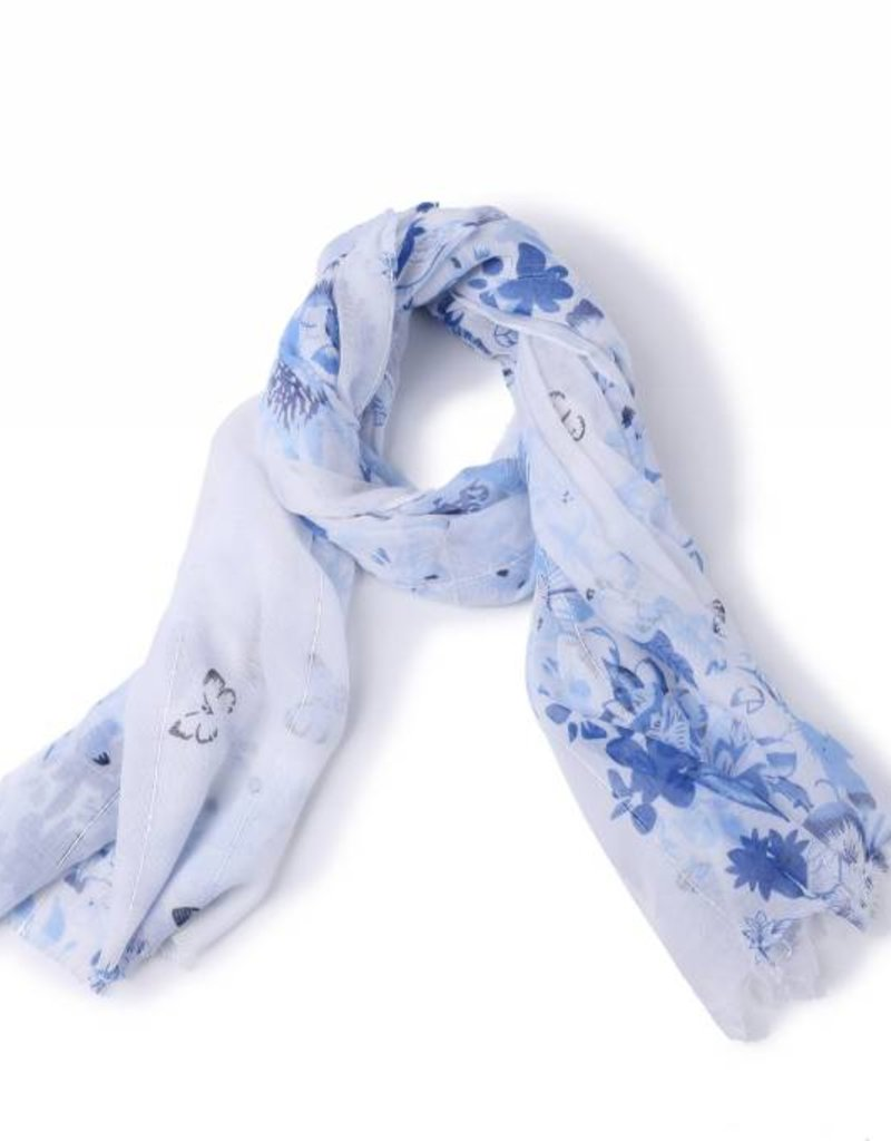 Happy Wahine Scarf Danielle Floral Blue