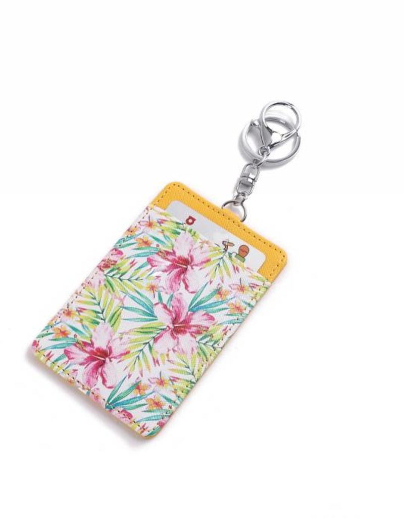 Card Case April Watercolor Hibiscus Yellow