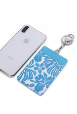 Happy Wahine Card Case April Monstera Orchid Blue