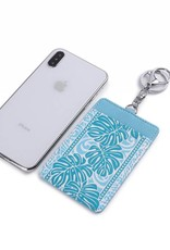 Happy Wahine Card Case April Monstera Blue