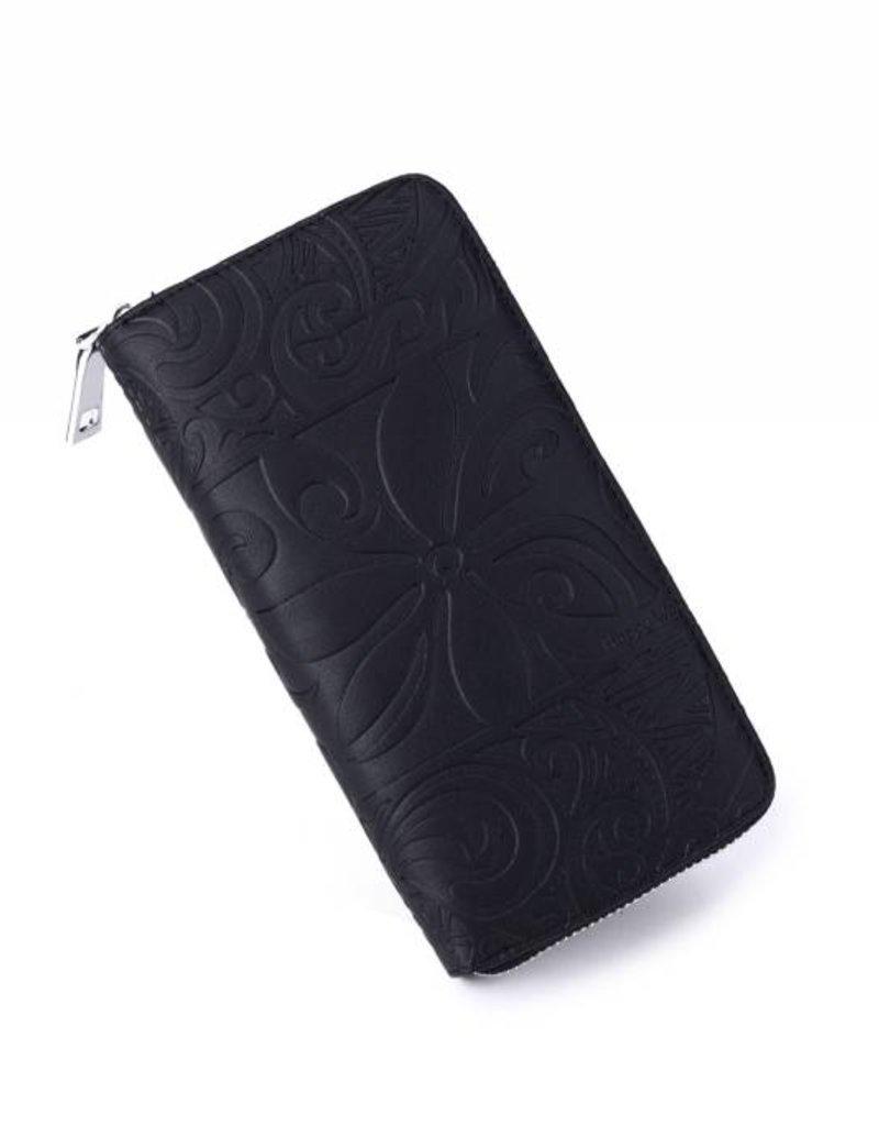 Happy Wahine Wallet Kaylee Tapa Tiare Black Emb