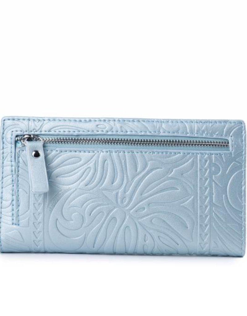 Happy Wahine Wallet Teyla Monstera Light Blue Met Emb