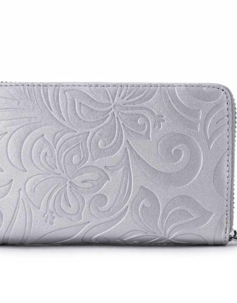 Happy Wahine Wallet Chloe Hibiscus Silver Emb