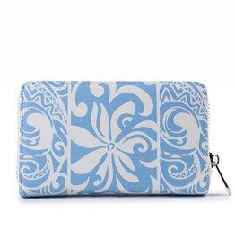 Happy Wahine Wallet Chloe Tapa Tiare Light Blue