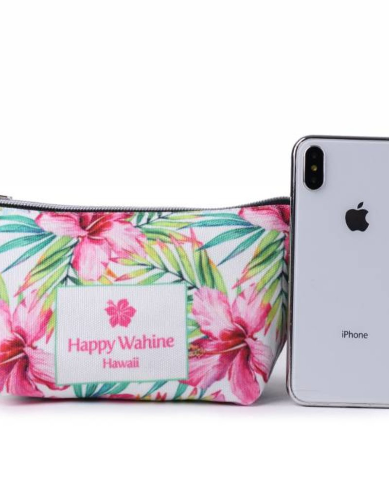 Happy Wahine Everyday HI Pouch Watercolor Hibiscus