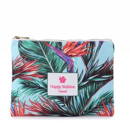 Happy Wahine Everyday HI Flat Pouch Bird of Paradise