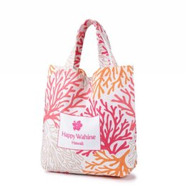 Happy Wahine Everyday HI Small Tote Coral